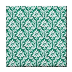 White On Emerald Green Damask Ceramic Tile by Zandiepants