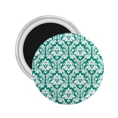 White On Emerald Green Damask 2 25  Button Magnet by Zandiepants