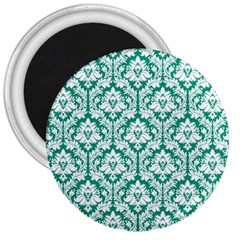 White On Emerald Green Damask 3  Button Magnet by Zandiepants