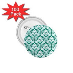 White On Emerald Green Damask 1 75  Button (100 Pack) by Zandiepants