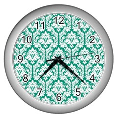 White On Emerald Green Damask Wall Clock (silver) by Zandiepants