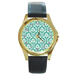 White On Emerald Green Damask Round Leather Watch (gold Rim)  by Zandiepants
