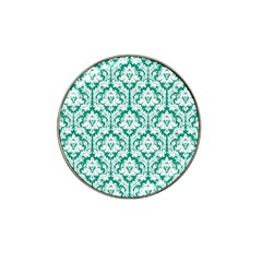 White On Emerald Green Damask Golf Ball Marker 10 Pack (for Hat Clip) by Zandiepants