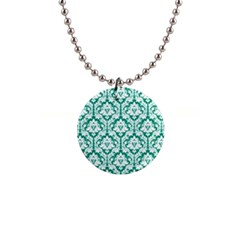 Emerald Green Damask Pattern 1  Button Necklace