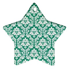 White On Emerald Green Damask Star Ornament (two Sides) by Zandiepants