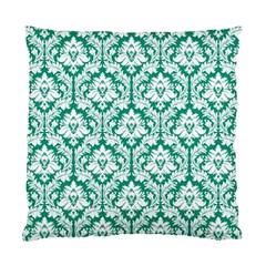 Emerald Green Damask Pattern Standard Cushion Case (one Side) by Zandiepants