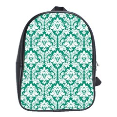 Emerald Green Damask Pattern School Bag (Large) by Zandiepants