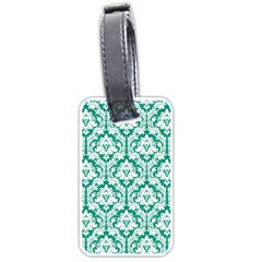 White On Emerald Green Damask Luggage Tag (One Side) by Zandiepants