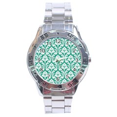 White On Emerald Green Damask Stainless Steel Watch by Zandiepants