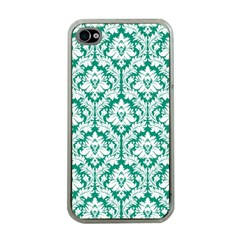 White On Emerald Green Damask Apple Iphone 4 Case (clear) by Zandiepants