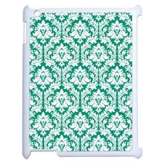 White On Emerald Green Damask Apple Ipad 2 Case (white) by Zandiepants