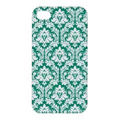 White On Emerald Green Damask Apple Iphone 4/4s Premium Hardshell Case by Zandiepants