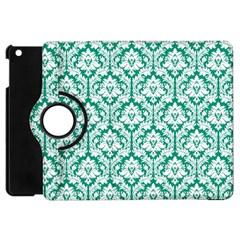 White On Emerald Green Damask Apple Ipad Mini Flip 360 Case by Zandiepants