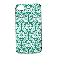 White On Emerald Green Damask Apple Iphone 4/4s Hardshell Case With Stand by Zandiepants