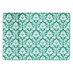 White On Emerald Green Damask Samsung Galaxy Tab 10 1  P7500 Flip Case by Zandiepants