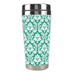 White On Emerald Green Damask Stainless Steel Travel Tumbler by Zandiepants