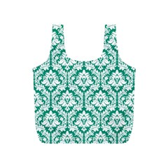 Emerald Green Damask Pattern Full Print Recycle Bag (S) by Zandiepants