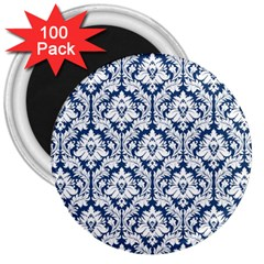 White On Blue Damask 3  Button Magnet (100 pack) by Zandiepants