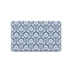 White On Blue Damask Magnet (name Card) by Zandiepants