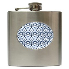 White On Blue Damask Hip Flask by Zandiepants