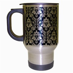White On Blue Damask Travel Mug (Silver Gray) by Zandiepants