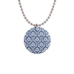 White On Blue Damask Button Necklace by Zandiepants