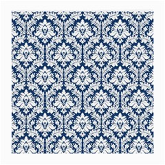 White On Blue Damask Glasses Cloth (medium, Two Sided) by Zandiepants