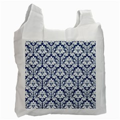 White On Blue Damask White Reusable Bag (one Side) by Zandiepants