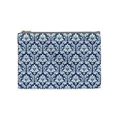 Navy Blue Damask Pattern Cosmetic Bag (Medium) by Zandiepants
