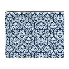 Navy Blue Damask Pattern Cosmetic Bag (xl) by Zandiepants