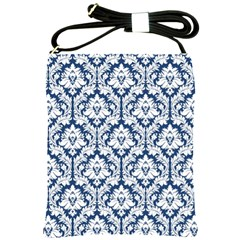 Navy Blue Damask Pattern Shoulder Sling Bag by Zandiepants