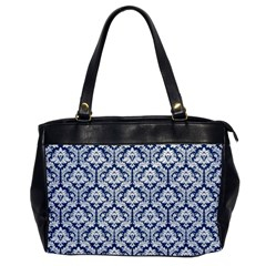 White On Blue Damask Oversize Office Handbag (One Side) by Zandiepants