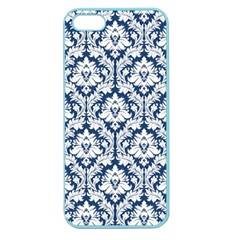 White On Blue Damask Apple Seamless iPhone 5 Case (Color) by Zandiepants