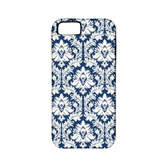 White On Blue Damask Apple Iphone 5 Classic Hardshell Case (pc+silicone)