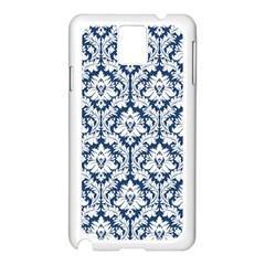 White On Blue Damask Samsung Galaxy Note 3 N9005 Case (white) by Zandiepants