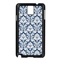 White On Blue Damask Samsung Galaxy Note 3 N9005 Case (Black) by Zandiepants