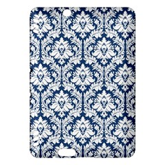 White On Blue Damask Kindle Fire HDX 7  Hardshell Case by Zandiepants