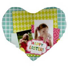 Easter By Easter   Large 19  Premium Heart Shape Cushion   07wy2ou40r4a   Www Artscow Com Back