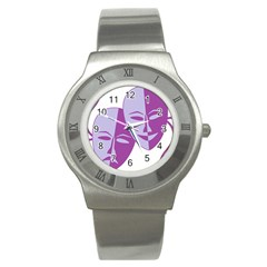 Comedy & Tragedy Of Chronic Pain Stainless Steel Watch (slim) by FunWithFibro
