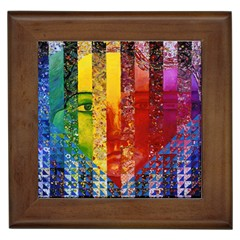 Conundrum I, Abstract Rainbow Woman Goddess  Framed Ceramic Tile by DianeClancy
