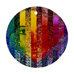 Conundrum I, Abstract Rainbow Woman Goddess  Round Ornament by DianeClancy