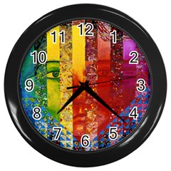 Conundrum I, Abstract Rainbow Woman Goddess  Wall Clock (black) by DianeClancy