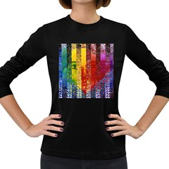 Conundrum I, Abstract Rainbow Woman Goddess  Women s Long Sleeve T Shirt (dark Colored) by DianeClancy