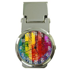 Conundrum I, Abstract Rainbow Woman Goddess  Money Clip With Watch by DianeClancy