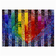 Conundrum I, Abstract Rainbow Woman Goddess  Glasses Cloth (large) by DianeClancy