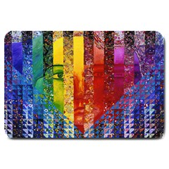 Conundrum I, Abstract Rainbow Woman Goddess  Large Door Mat by DianeClancy