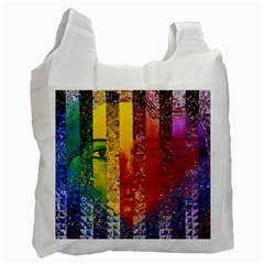 Conundrum I, Abstract Rainbow Woman Goddess  White Reusable Bag (one Side) by DianeClancy