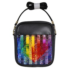 Conundrum I, Abstract Rainbow Woman Goddess  Girl s Sling Bag by DianeClancy