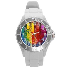 Conundrum I, Abstract Rainbow Woman Goddess  Plastic Sport Watch (large) by DianeClancy