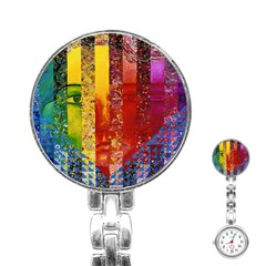 Conundrum I, Abstract Rainbow Woman Goddess  Stainless Steel Nurses Watch by DianeClancy